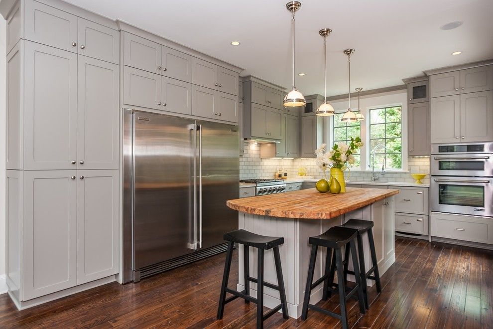 Wholesale Builders Supply for a Farmhouse Kitchen with a Light Gray Cabinets and Kitchen/dining Williamson Dr. by White Oak Custom Builders
