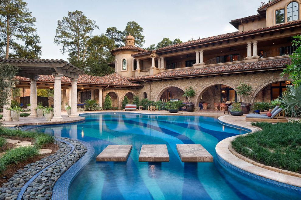 Wholesale Builders Supply for a Mediterranean Pool with a Covered Patio and Memorial Moroccan by Jauregui Architect Builder