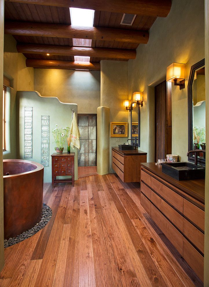 Wholesale Builders Supply for a Southwestern Bathroom with a Double Bathroom Sink and Santa Fe Contemporary Remodel by Prull Custom Builders