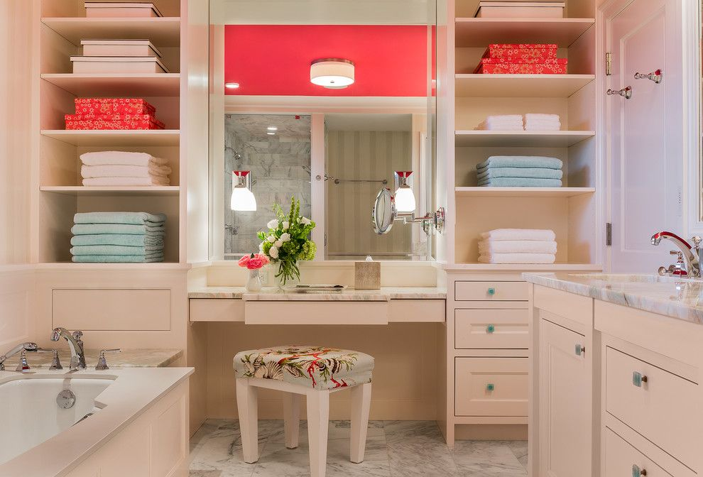 Wholesale Builders Supply for a Transitional Bathroom with a Vanity Stool and Seaside Retreat by Brookes + Hill Custom Builders