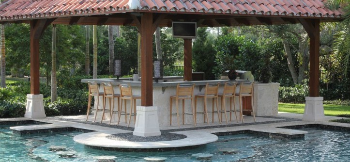 Wieland Furniture for a Modern Pool with a Outdoor Bar and Swim Up Pool Bar by Krent Wieland Design, Inc