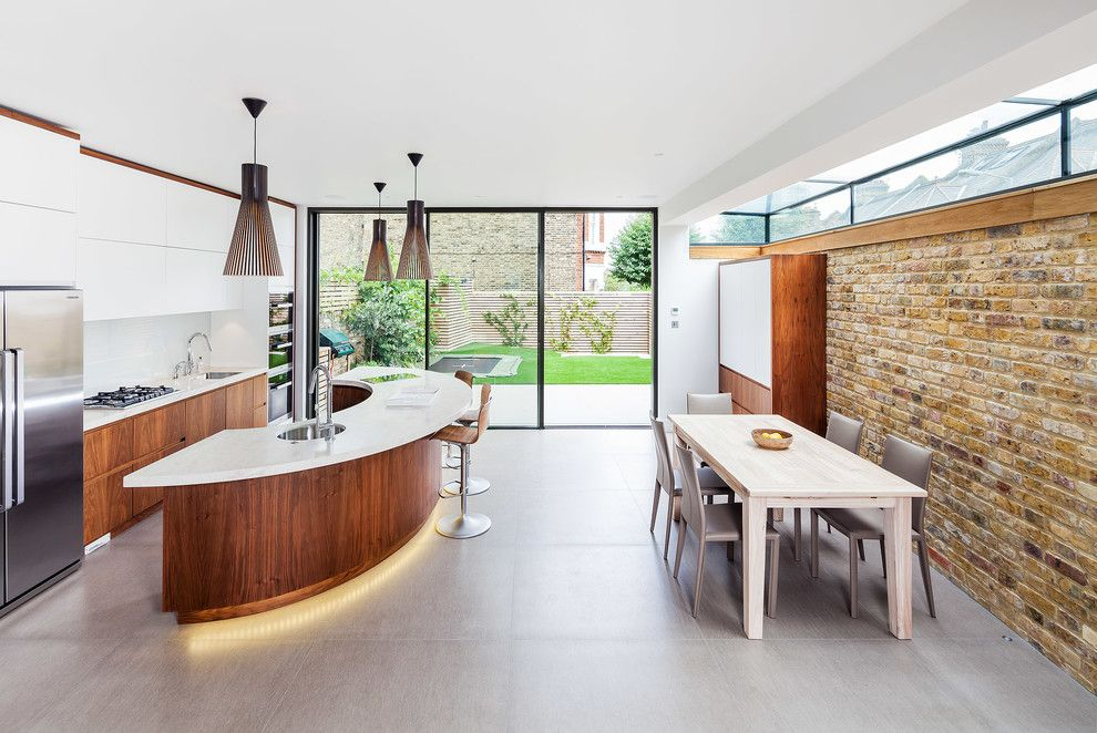 Williamsburgh Savings Bank for a Contemporary Kitchen with a Gray Floor Tile and Wandsworth Home Cinema by Inspired Dwellings