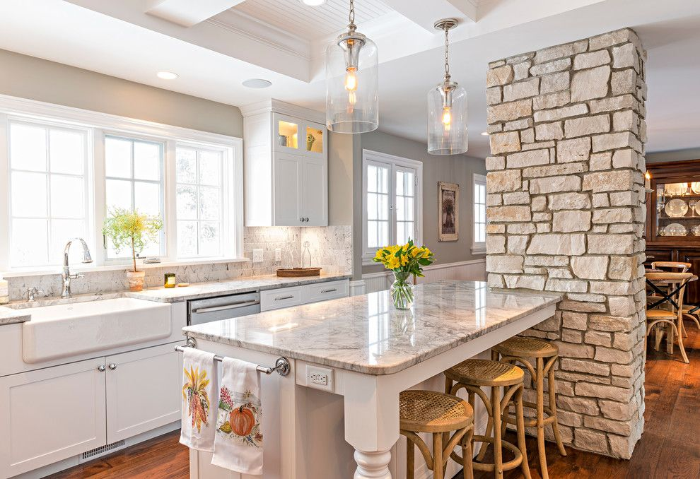 Williamsburgh Savings Bank for a Farmhouse Kitchen with a White Countertop and Chevy Chase by Sean Patrick Builders
