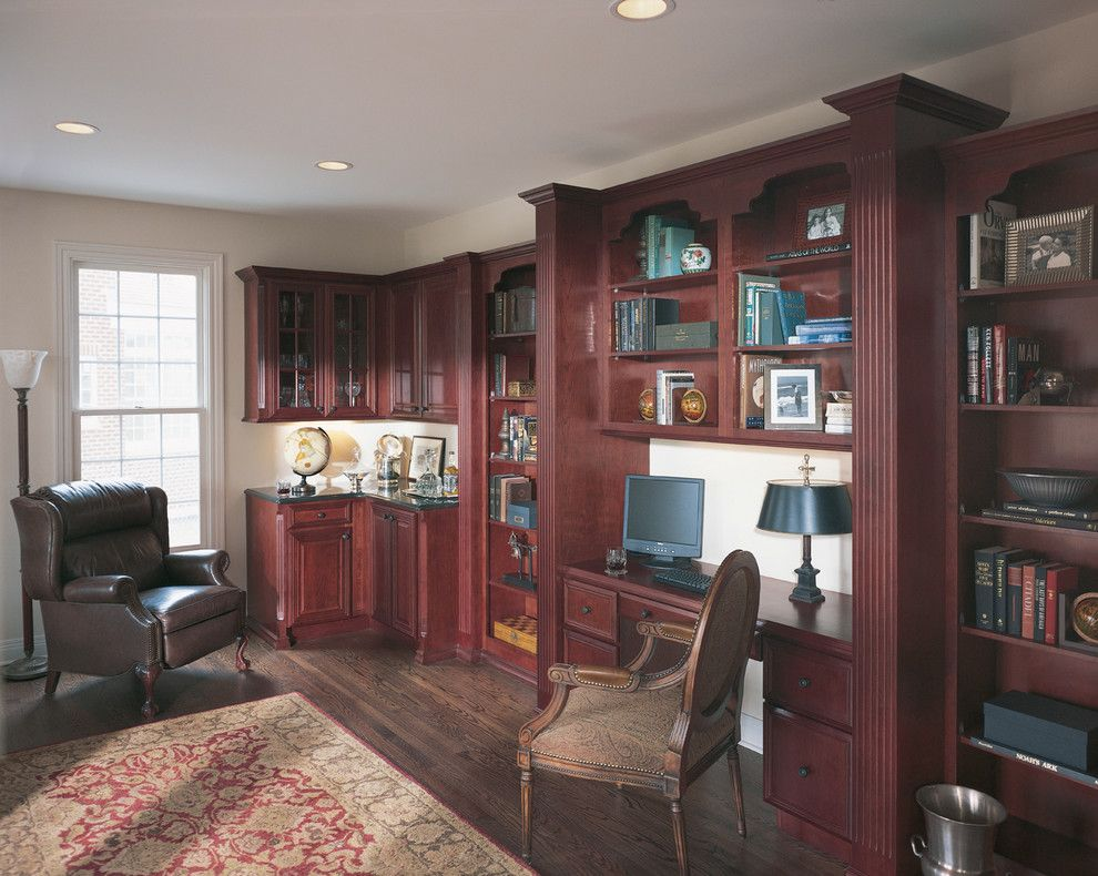 Willow Glen Library for a Traditional Home Office with a Open Shelving and Traditional Home Office in Chicago, Illinois by Fieldstone Cabinetry