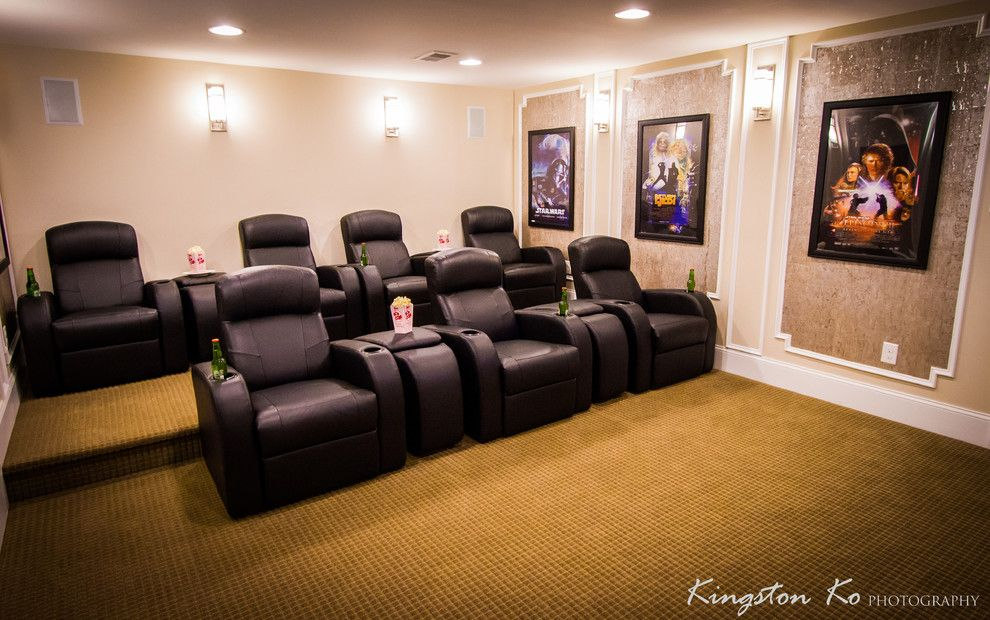 Willowbrook Theater for a Contemporary Home Theater with a Contemporary and New Construction   Willowbrook by Kingston Ko Photography