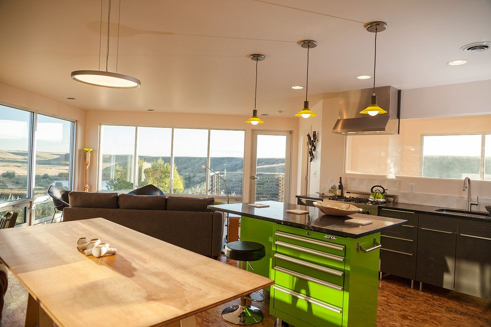 Windham Auto Sales for a Contemporary Kitchen with a Tool Box Island and Grain Bin Residence by Nick Pancheau, Aia