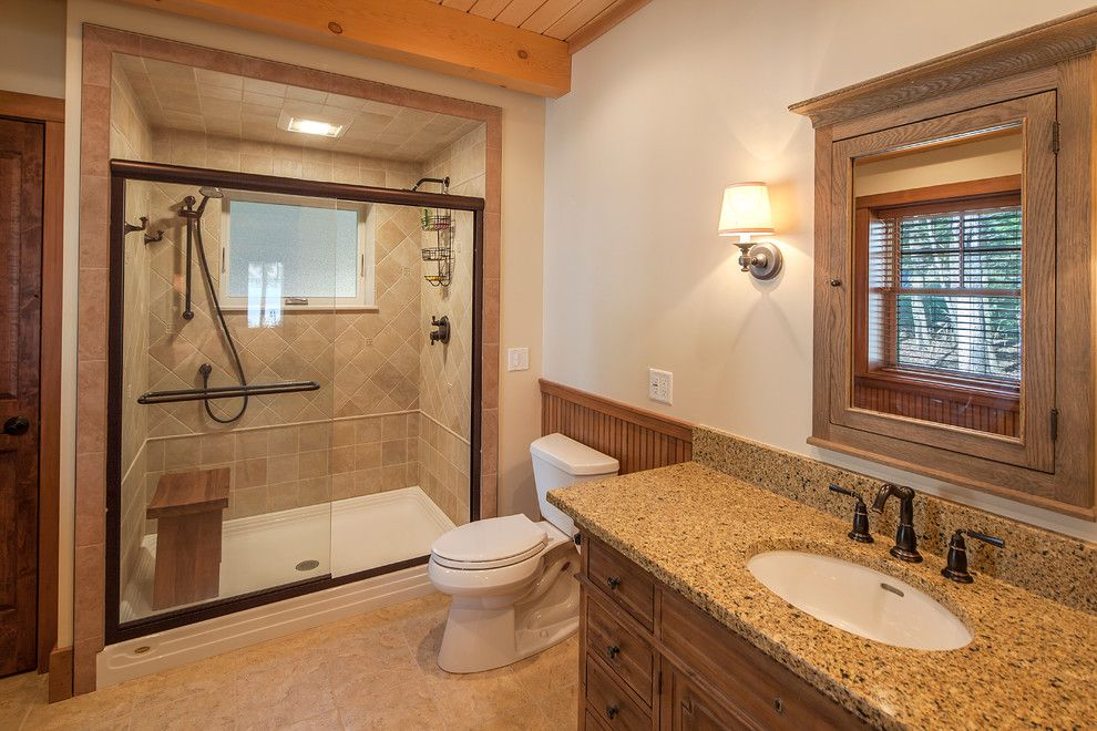 Window Depot Tucson for a Rustic Bathroom with a Wood Ceiling Beam and New Hampshire Lake House by Bensonwood
