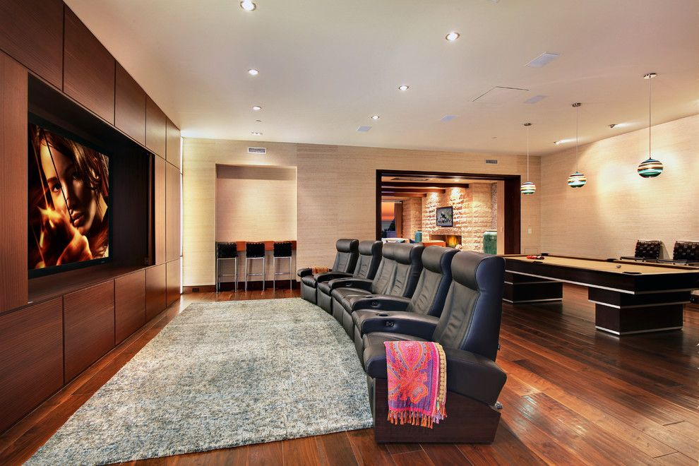 Winnetka Movie Theater for a Contemporary Home Theater with a Black Counter Stool and Strand Beach by Jeri Koegel Photography