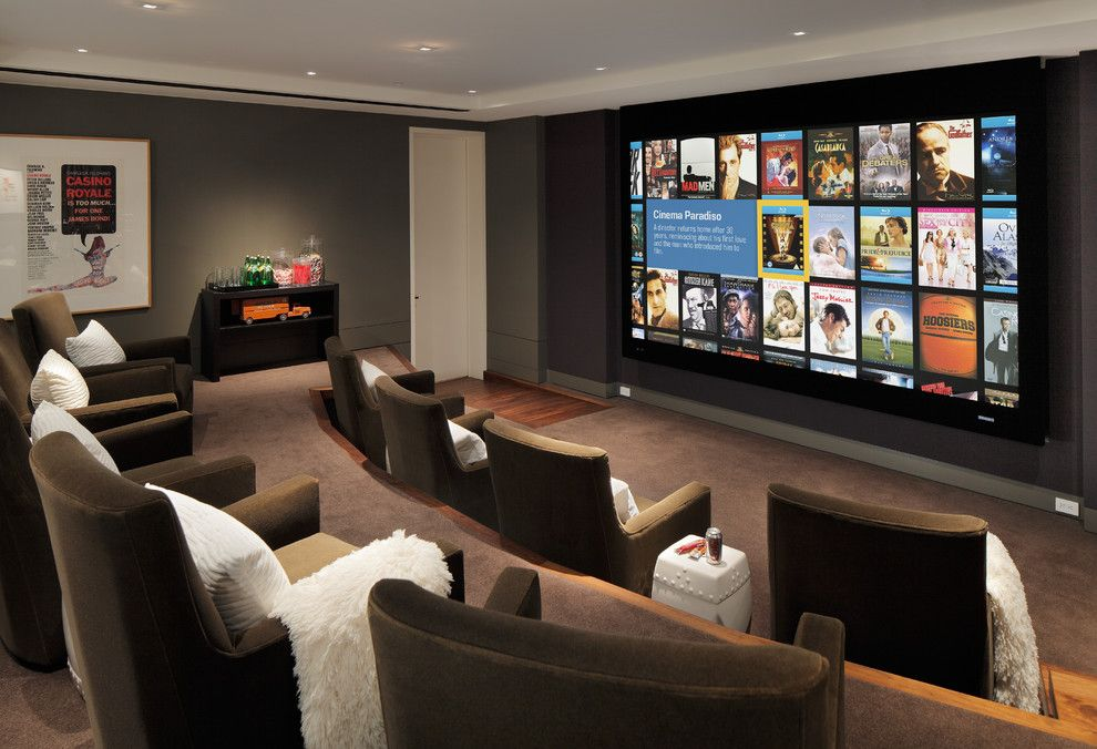 Winnetka Movie Theater for a Contemporary Home Theater with a Movei Posters and Arthur Mclaughlin & Associates by Arthur Mclaughlin & Associates, Inc.