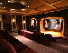 Winnetka Movie Theater for a Contemporary Home Theater with a Screening Room and a Theater with a Stage by Gramophone