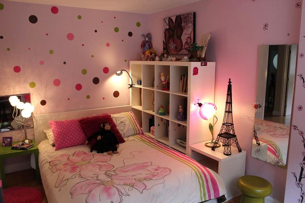 Winston Flowers Boston for a Eclectic Kids with a Eiffel Tower and Pink Bedroom with Polka Dots by Chic Redesign