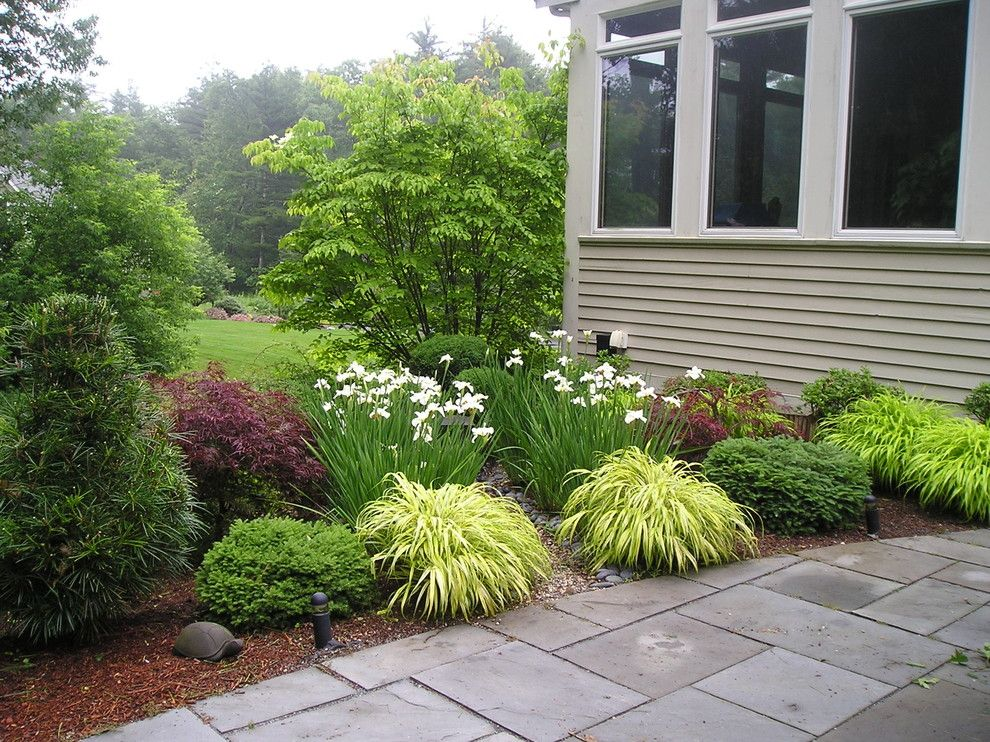Winston Flowers Boston for a Traditional Patio with a Japanese Inspired Outdoor Room with Foun and Gardens by Garden Designs by Kristen