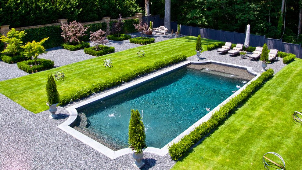 Woerner Turf for a Traditional Pool with a Lawn and Backyard Space by Selective Designs by Shane Leblanc