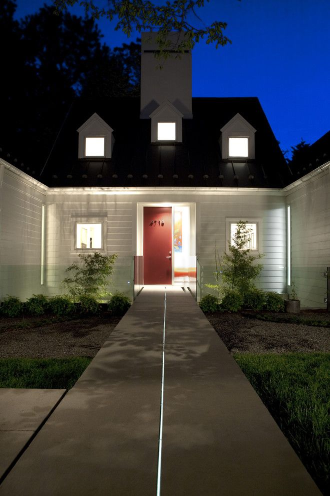 Woerner Turf for a Transitional Exterior with a House Numbers and House of Light: Chevy Chase, Maryland Home Inspired by Hugh Newell Jacobsen by Anthony Wilder Design/build, Inc.