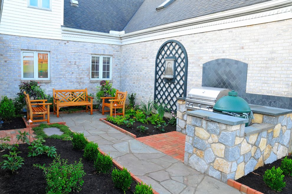 Wolf Furniture Lancaster Pa for a Traditional Landscape with a Senecca Buff Stone and Lancaster Pa. Outdoor Kitchen Courtyard by Fernhill Landscapes