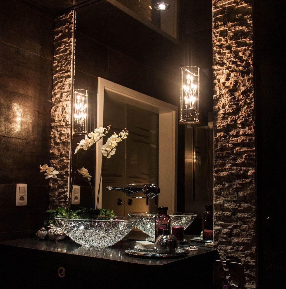 Wolf Gordon Wallcovering for a Modern Bathroom with a Glass Sink and Maestrobath by Maestrobath