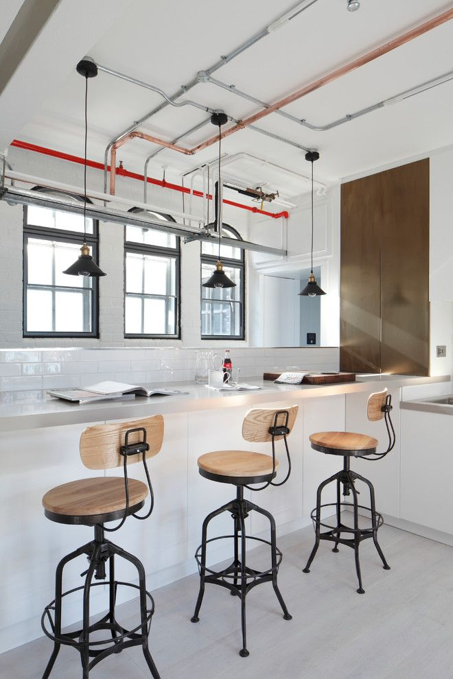 Wolseley Industrial Group for a Industrial Kitchen with a Bronze Tinted Stainless Steet Cabinet and Apartment, Soho by Fine Edge Designs