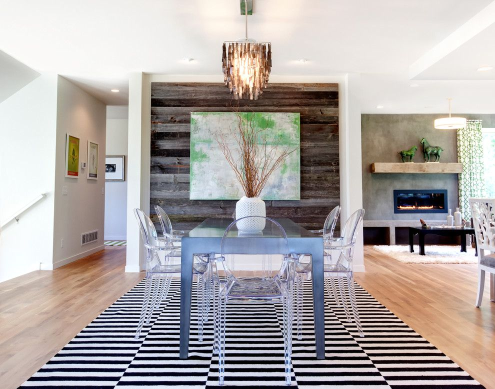 Wood Lathe Projects for a Contemporary Dining Room with a Black and White Stripes and Prior Lake Custom Home by Amek Custom Builders