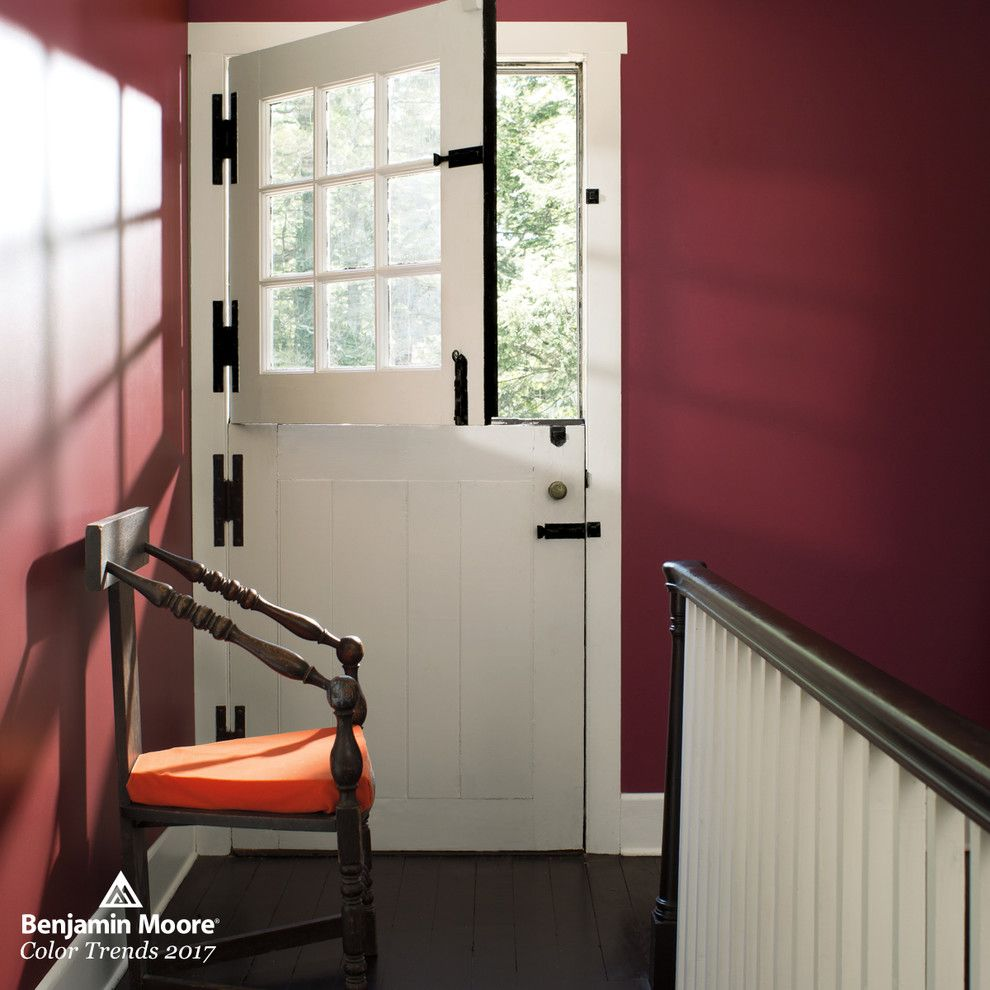 Wood Lathe Projects for a Contemporary Hall with a Maroon Walls and Benjamin Moore by Benjamin Moore
