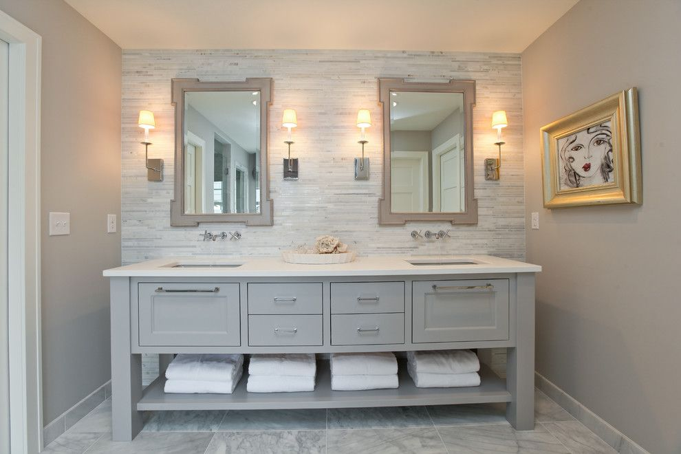Woodcraft Furniture for a Contemporary Bathroom with a Double Sink and Modern Cottage Dream Home in Edina by Refined Llc