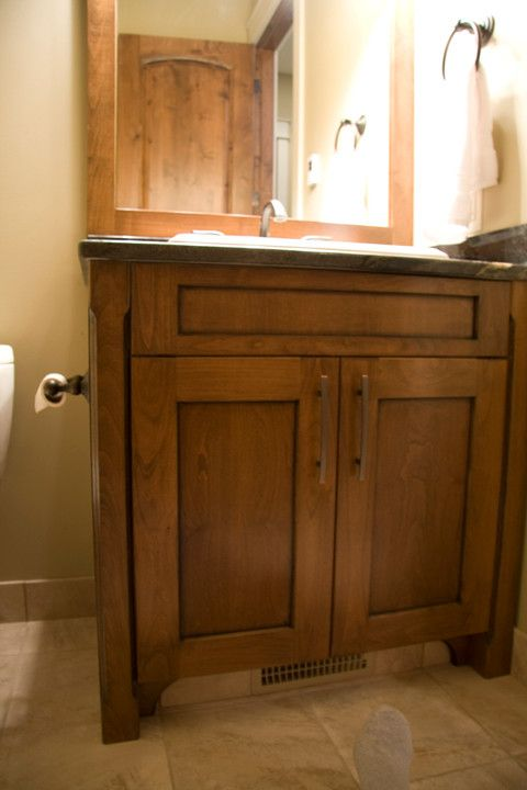 Woodcraft Furniture for a Craftsman Powder Room with a Craftsman and Hewetson Craftsman House by Ok Woodcrafters Co.