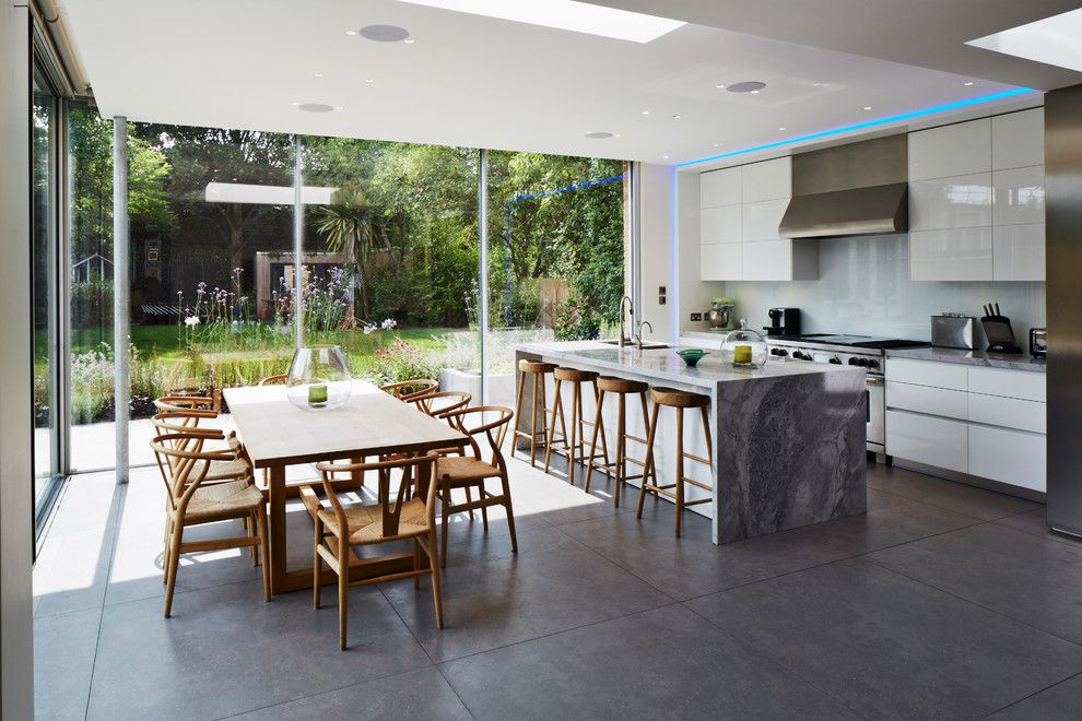 Woodland Hills Lexus for a Contemporary Kitchen with a Marble Worktop and Extension, Herne Hill by Stephen Turvil Architects