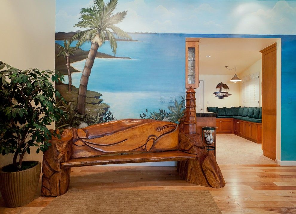 Woodland Hills Utah for a Tropical Family Room with a Wall Murals and Tropical Retreat in Woodland Hills by Karen Grace Interiors