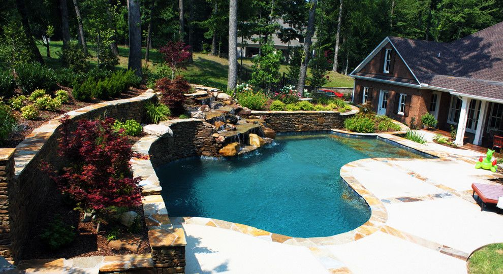Woodlands Nashville for a Traditional Pool with a Landscape and Jackson Residence Woodland Pool Design by J. Brownlee Design