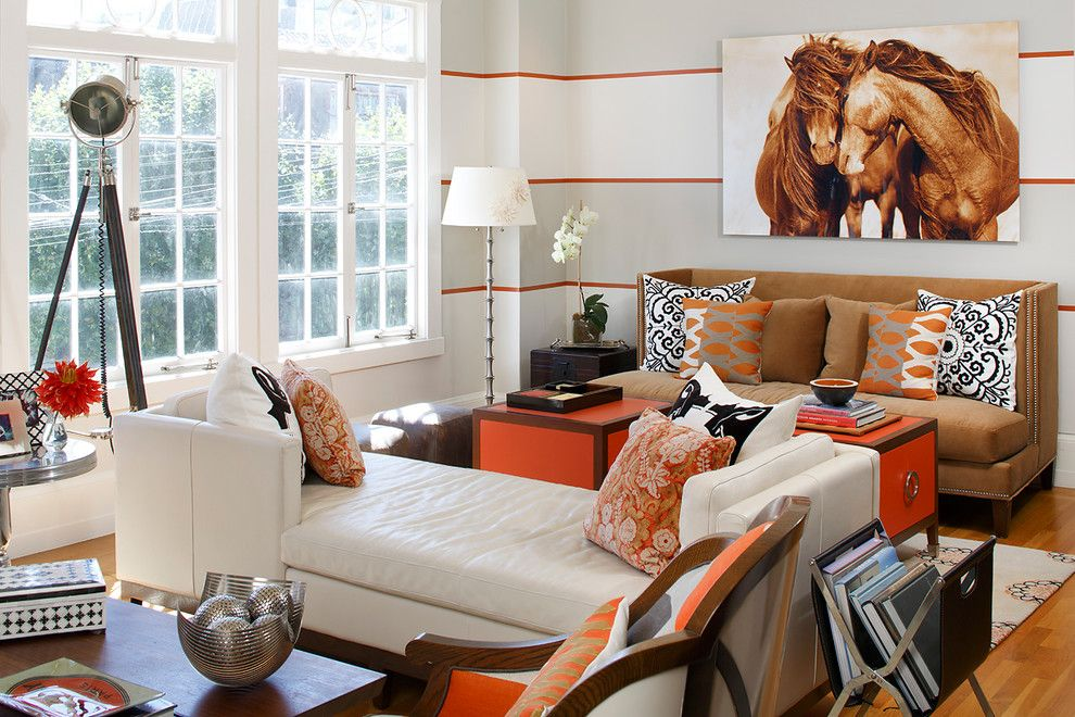 Woodmagazine for a Contemporary Living Room with a Orange Wall and Designer Home in Sf by Artistic Designs for Living, Tineke Triggs
