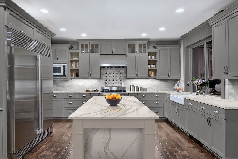 Woodmagazine for a  Kitchen with a Quartz Countertop and Brittanicca From Cambria's Marble Collection by Cambria