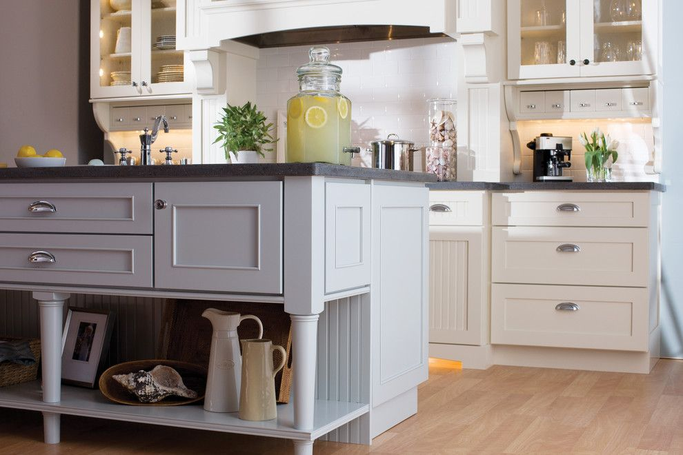 Www.esmas.com for a Eclectic Kitchen with a Traditional Cabinets and White Cottage Styled Kitchen by Dura Supreme Cabinetry