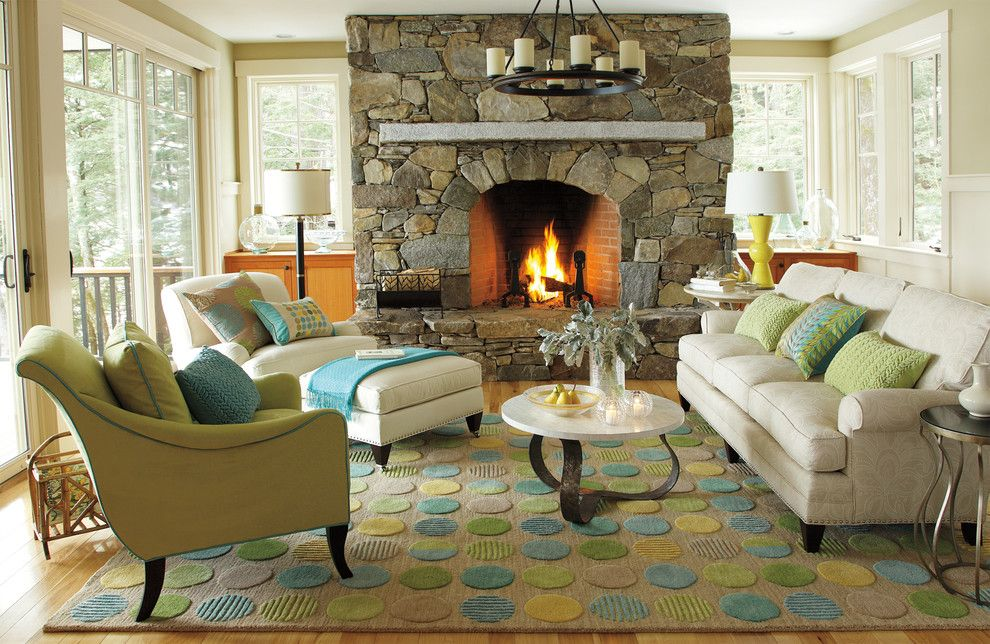 Www.palmbeachpost.com for a Beach Style Living Room with a Turquoise and Lounge Lake Living Room by Company C