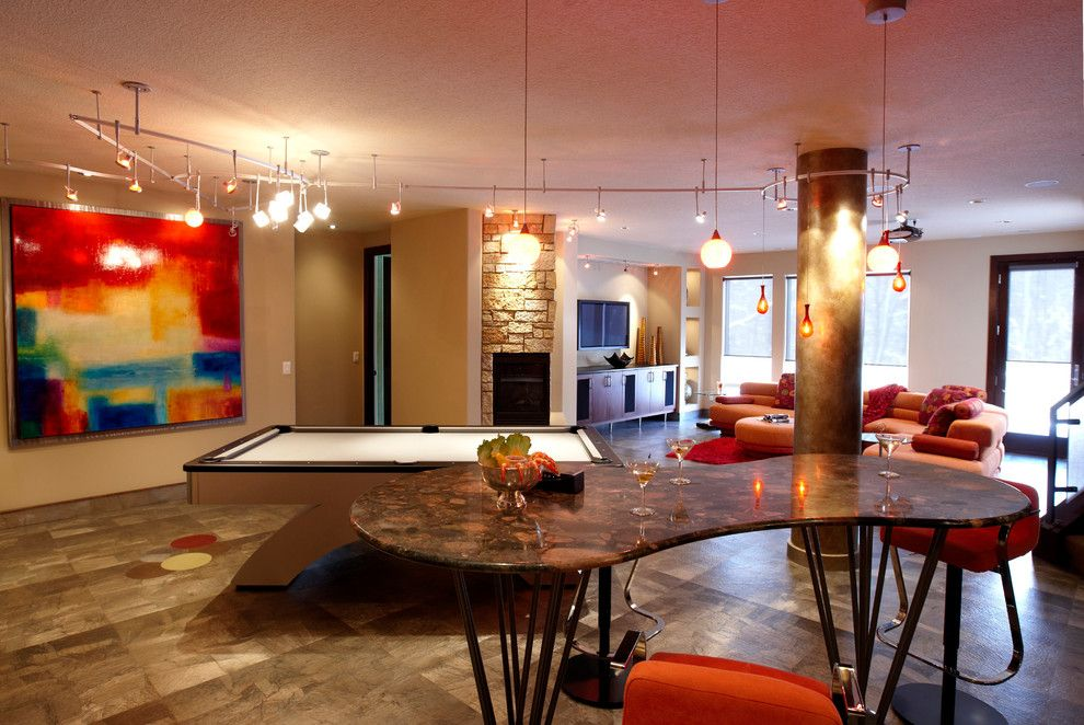 Www.raymourflanigan.com for a Contemporary Basement with a Orange Couch and Contemporary Details by Jaque Bethke for Pure Design Environments Inc.