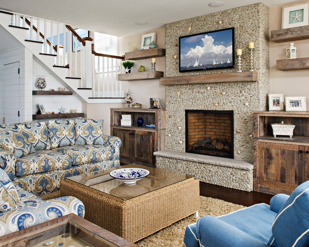 Www.twinspires.com for a Beach Style Living Room with a Custom Fireplace and Harvey Cedars by Serenity Design