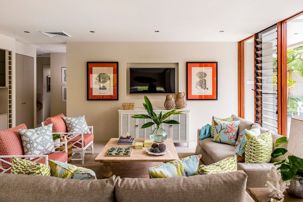Wychmere Beach Club for a Beach Style Family Room with a Sofa and Yaroomba Beach House by Highgate House