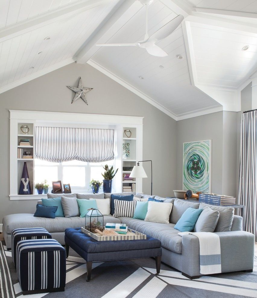 Wychmere Beach Club for a Beach Style Living Room with a Throw Pillows and Pratt & Lambert Paints by Pratt & Lambert Paints