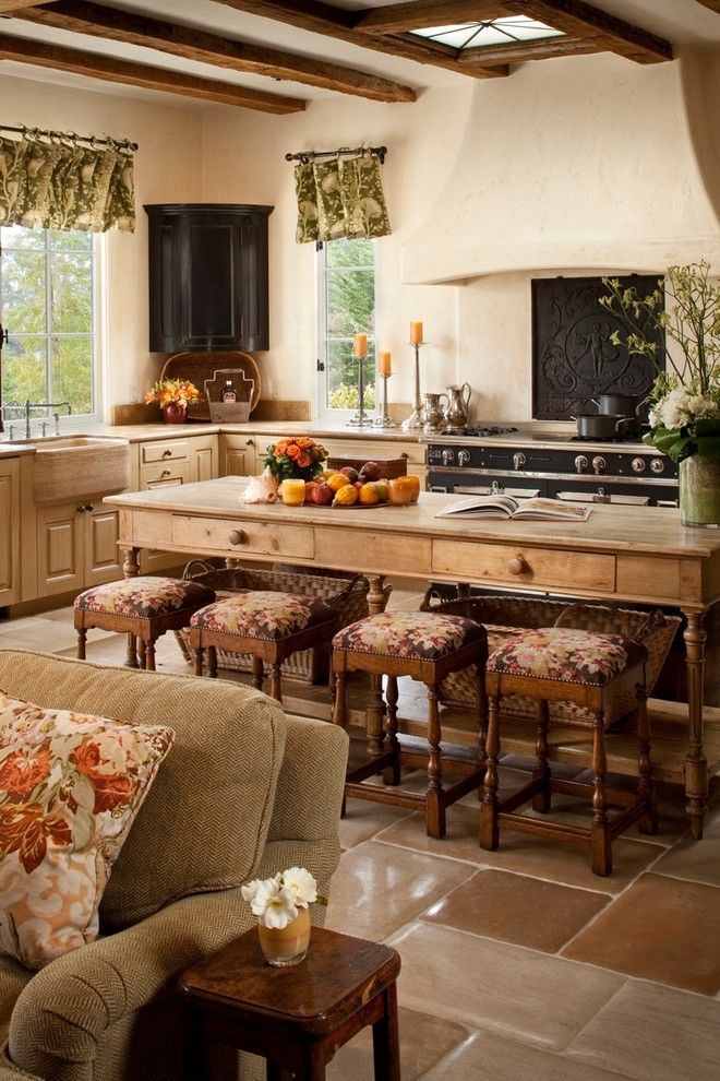 Wychmere Beach Club for a Mediterranean Kitchen with a Stool and Private Residence Pebble Beach by Andrea Bartholick Pace Interior Design