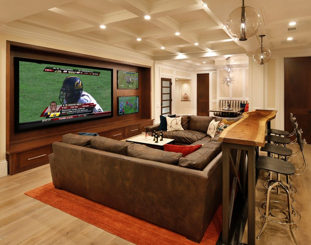 Xroom for a Traditional Home Theater with a Black Counter Stool and Family Room, Home Theater and Bar by Trg Architects