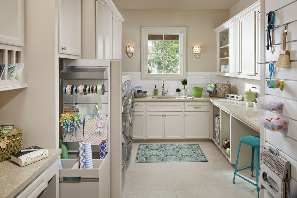 Xroom for a Traditional Laundry Room with a Gift Wrapping Center and the Cimarron by Morning Star Builders Ltd