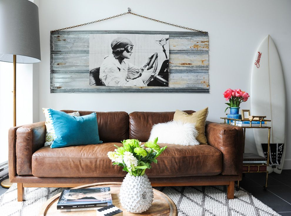 Zack White Leather for a Eclectic Living Room with a Brown Leather Couch and China Town Condo by Oliver Simon Design