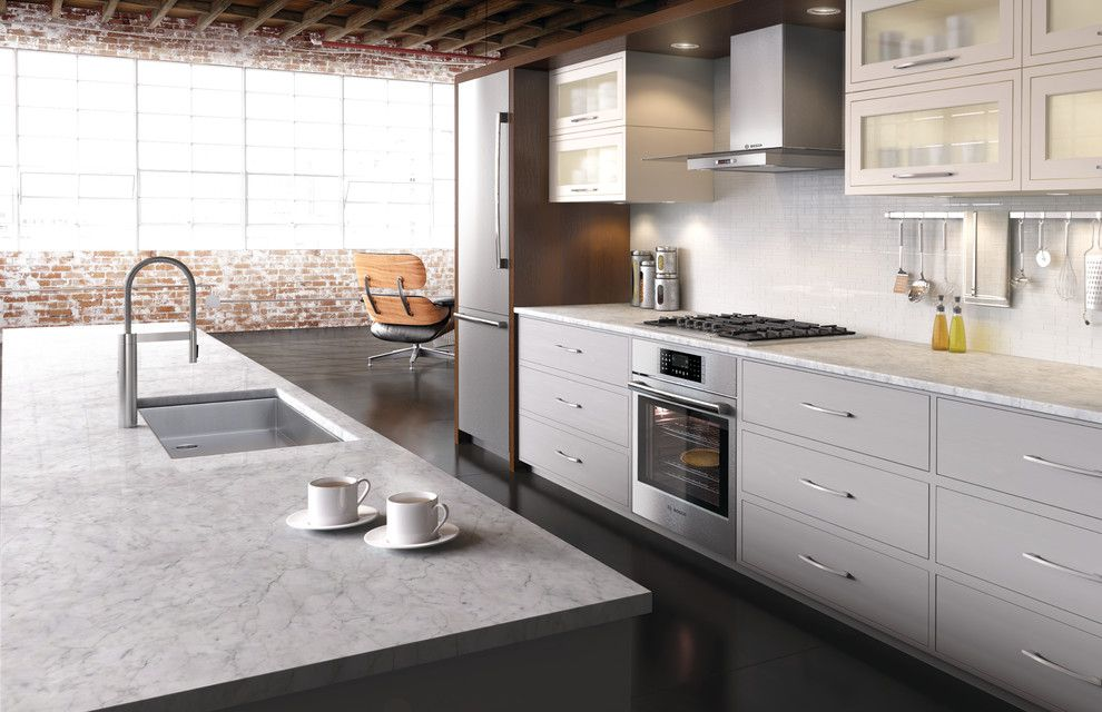 Zack White Leather for a Modern Kitchen with a Frosted Cabinets and Bosch Kitchens by Bosch Home Appliances