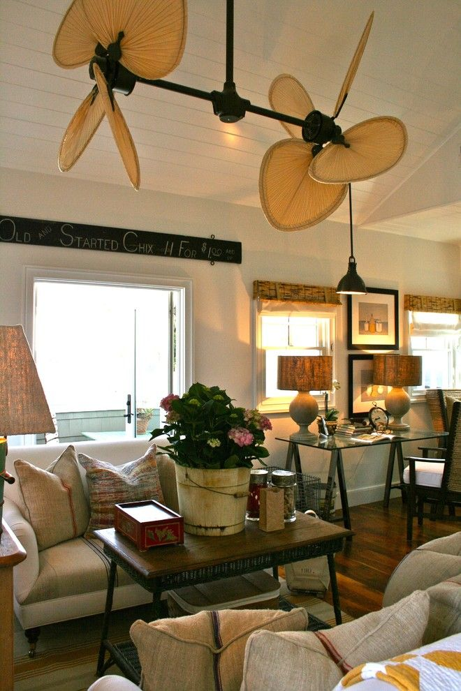 Zanos for a Beach Style Family Room with a Beach Style and Folk Art in the Family Room by Kelley & Company Home
