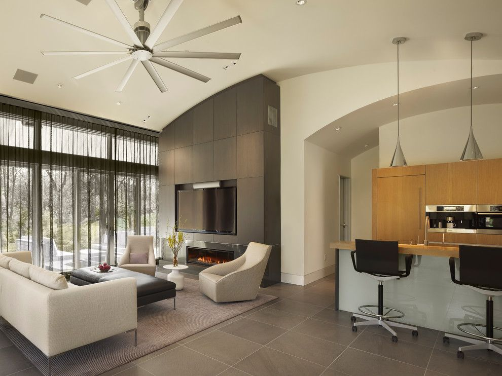 Zanos for a Contemporary Living Room with a Modern Ceiling Fan and Guest House by Neely Architecture