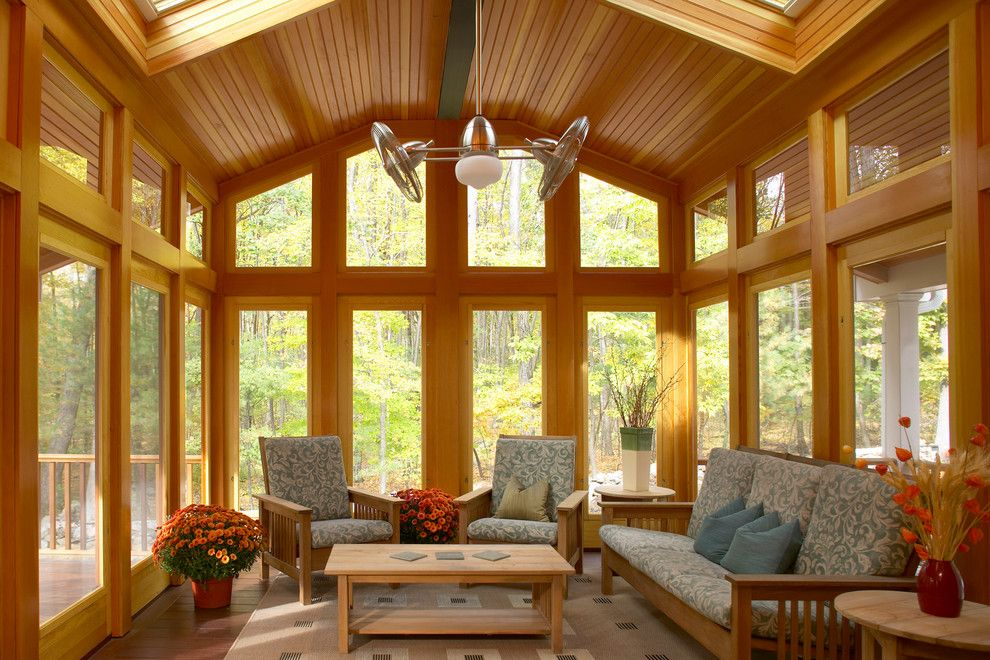 Zanos for a Craftsman Porch with a Wood Side Table and Acton 3 Season Porch by Out of the Woods Construction & Cabinetry, Inc.