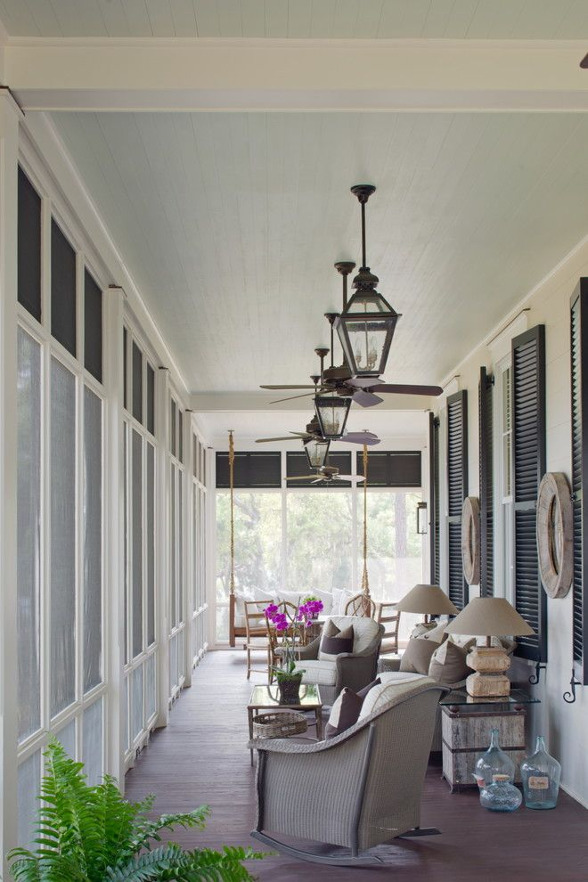 Zanos For A Traditional Porch With Ceiling Fans And On The Screened By Historical Concepts