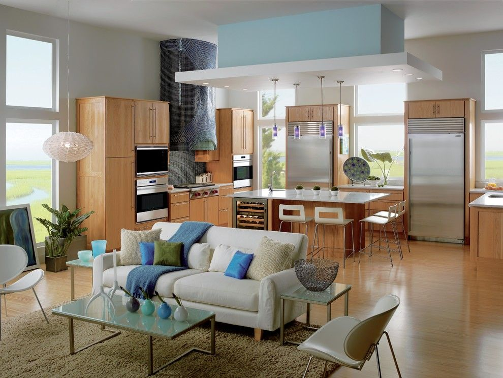 Zeon Zoysia for a Contemporary Kitchen with a White Sofa and Kitchens by Sub Zero and Wolf