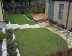Zeon Zoysia for a Contemporary Landscape with a Mortar and Deck, Grass & Stairs by Purple Fountain Tree
