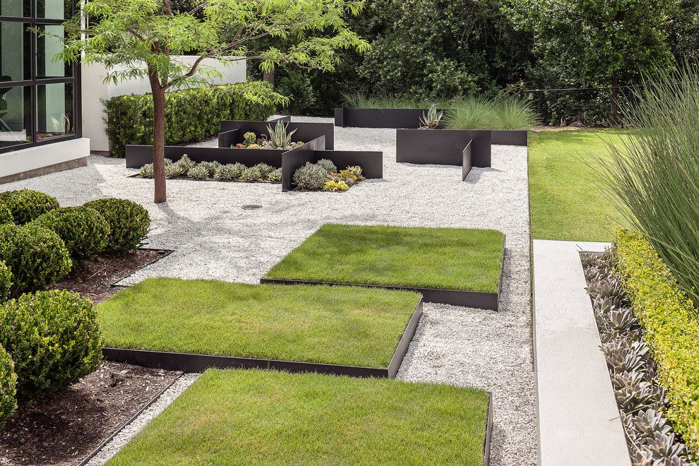 Zeon Zoysia for a Modern Landscape with a Steel Walls and Modern Landscaping by Exterior Worlds Landscaping & Design