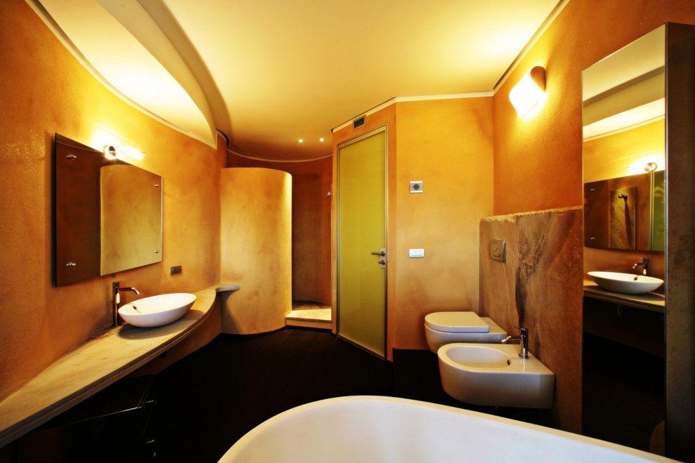 Zucchetti for a Contemporary Bathroom with a Parquet and Bagno Padronale by Silvia Pietta Architetto